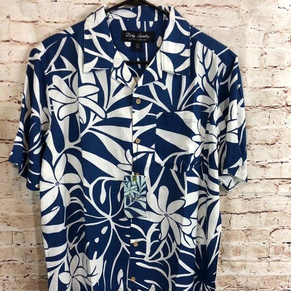 4141afb3 Dirty Laundry Shirts   Blue And White Short Sleeve Shirt   Poshmark